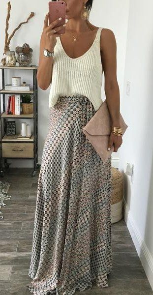 spring fashion White Top & Printed Maxi Skirt