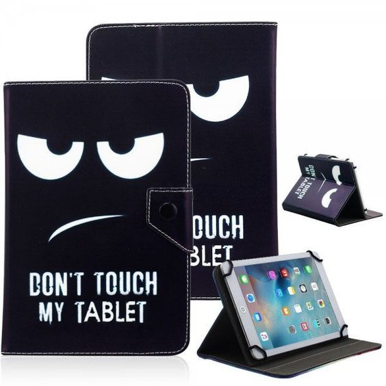 """UNIVERSAL 8"""" TABLET FLIP PU LEATHER FOLIO CASE STAND COVER BLACK (DON'T TOUCH MY TABLET)"""