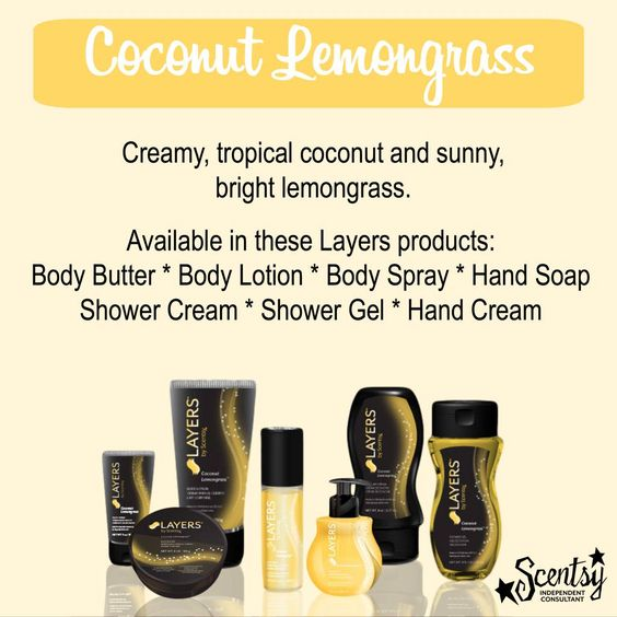 who loves coconut lemongrass? try it in layers by scentsy bath and body care. #scentsy #layers