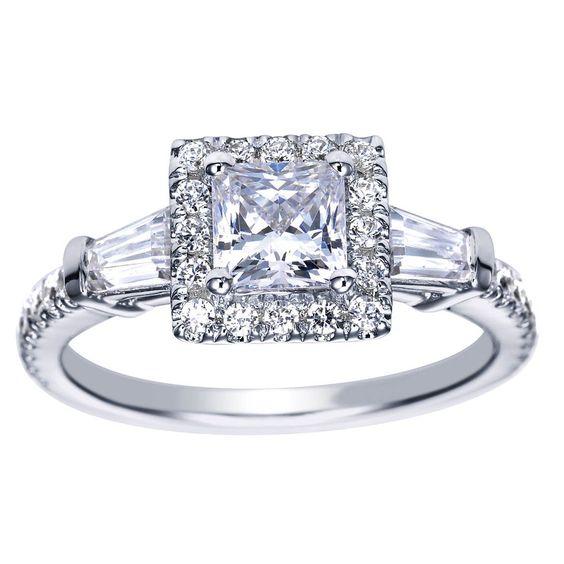 Beautiful 18k Princess Cut Halo Engagement Ring Setting with Baguette diamond