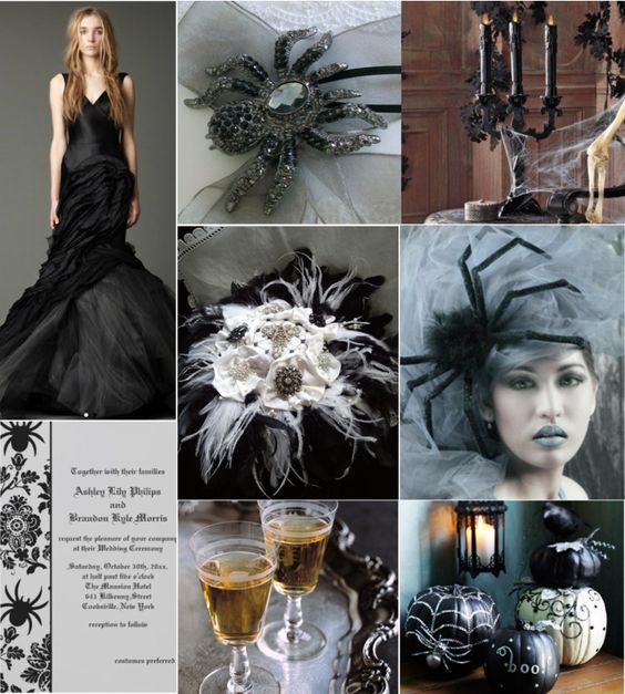 Elegant Halloween Themed Weddings: Brooches, Invitations And The O'jays On Pinterest