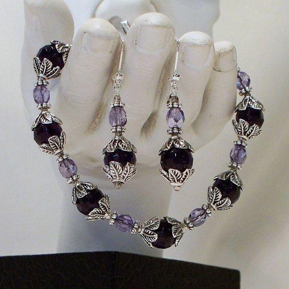 Deep Purple Bracelet and Earring Set by tbyrddesigns on Etsy, $39.00