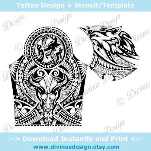 Instant Download Half Sleeve Polynesian Maori Tattoo And Chest Etsy Maori Tattoo Dragon Tattoo Chest Bull Tattoos