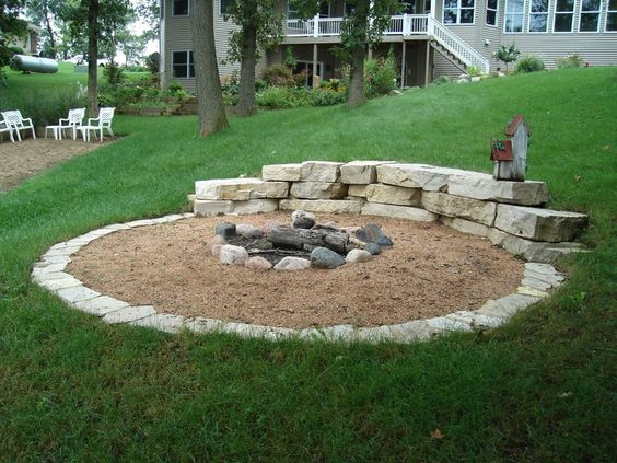 firepit in hillside | Hillside fire pit.  Like the concept for our sloped lawn...  Would want to nice it up a bit.