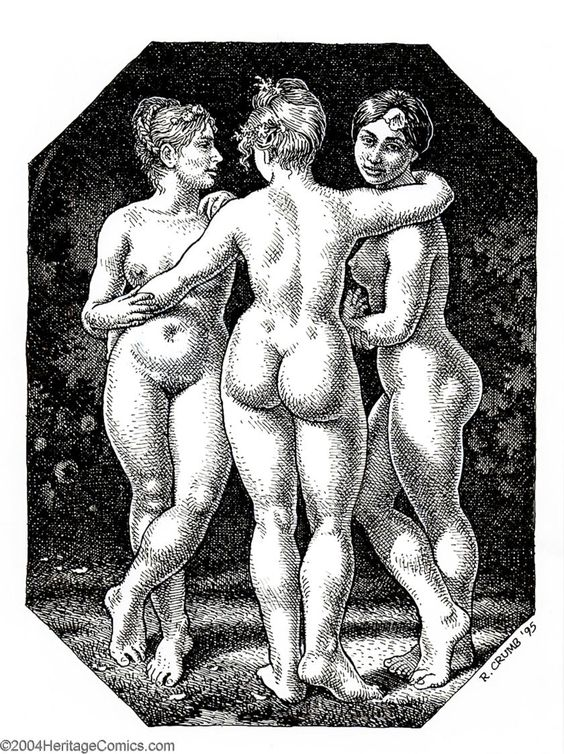 "Original Comic Art:Splash Pages, Robert Crumb - Original Pin Up Art for Art & Beauty, ""The ThreeGraces"" (Fantagraphics, 1995). Bob really loves the babes! W... Image #1"