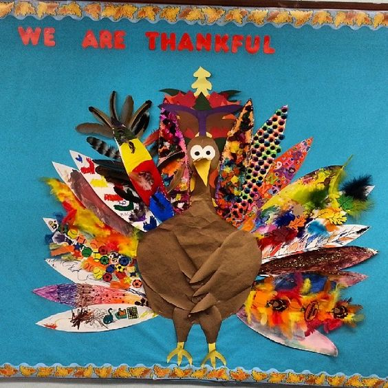 We Are Thankful Turkey Bulletin Board Idea