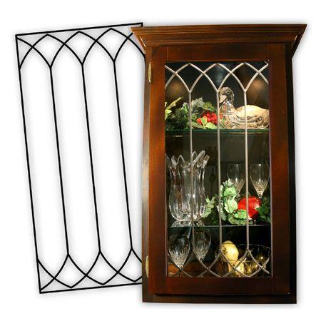 Leaded glass insert custom dark bronze finish crafts for Glass cabinet door inserts