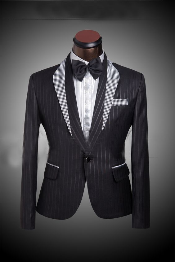Grid Matching Collar Men S Black Wedding Suit Tuxedo For Custom Made Mens Pinstripe Three Piece Jacket Pants Tie Us 78 47 98 12