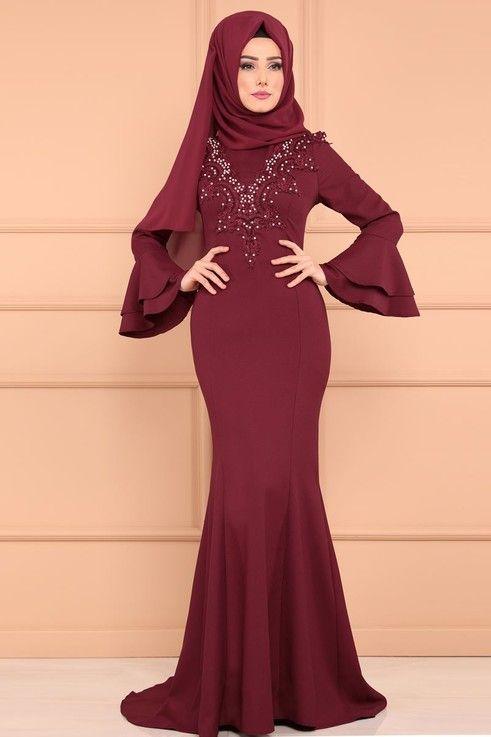 Abiye Incili Balik Abiye Msw8427 Bordo Resmi Elbise The Dress Moda Stilleri