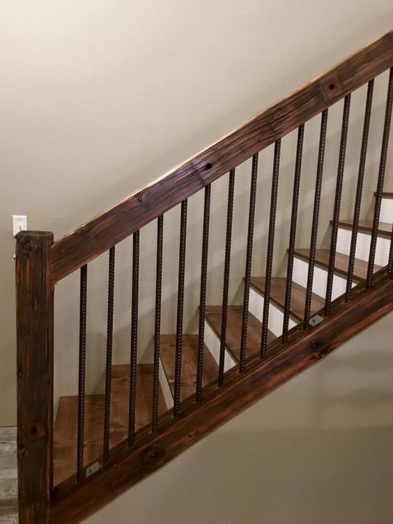 Rustic Old utility pole cross arms reclaimed into Stair