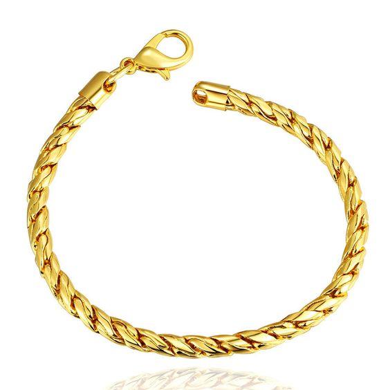 В поворот цепи 5 мм 18 К золотой 8 '' 20 см браслеты браслеты B087 подарочной коробке 2015 новые ювелирные изделия