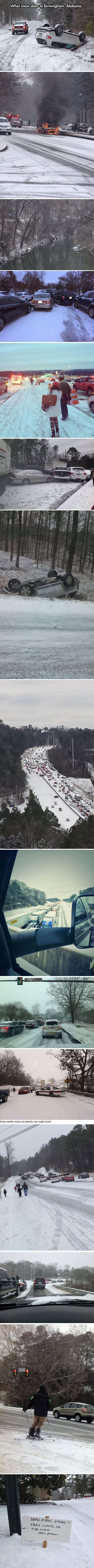 What snow does to Birmingham, Alabama… There should be a sequel to this... What snow does in Minnesota. And have everybody driving normally in 2 ft of snow.