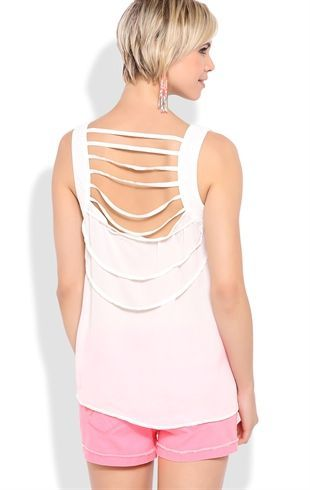 Deb Shops High Low Tank with Lattice Back $9.50