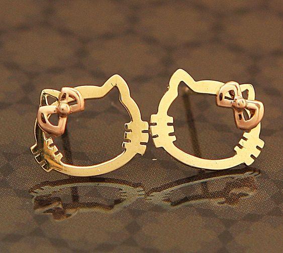 Mini Hello Kitty 14K Gold Stud Earrings For Kids & Adults With Guarantee Card   eBay