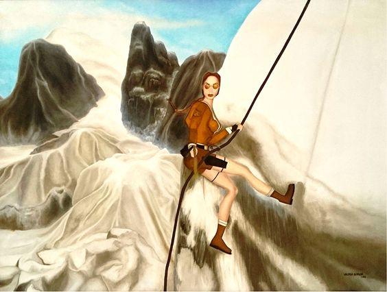 """""""Lara Croft"""", óleo, 80 x 60, 2001.  #arte #art #artesvisuales #pintura #oleo #tombraider #laracroft"""