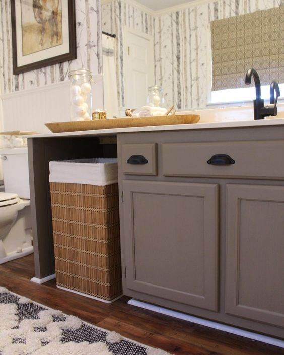 Bathroom by @carolinacottagefurniture: Vanity painted with Jolie Paint in Cocoa and sealed with Jolie Low-Luster Varnish