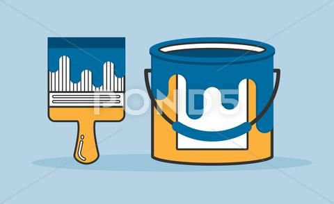Brush And Paint Bucket Vector Flat Line Illustration Stock Illustration Ad Bucket Vector Brush Paint Line Illustration Paint Buckets Illustration
