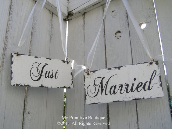 JUST MARRIED Chair Hangers, Shabby Chic Wedding Signs, Cottage Wedding Sign, Mr and Mrs Sign, Vintage Wedding Signs, Roses. $39.00, via Etsy.