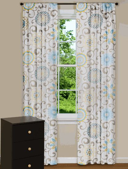 Modern Floral Curtain Panels, Drapes, Spa Blue, Yellow, Grey ...