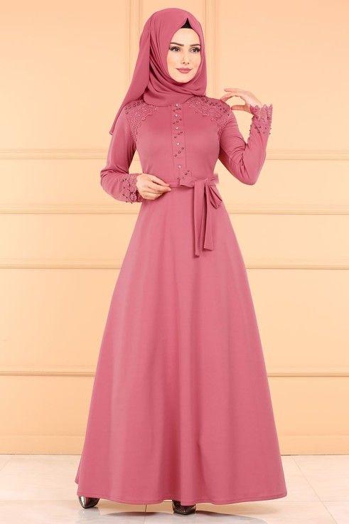 Modaselvim Elbise Dantel Detay Tesettur Elbise Pl828 Gul Kurusu The Dress Elbise Basortusu Modasi