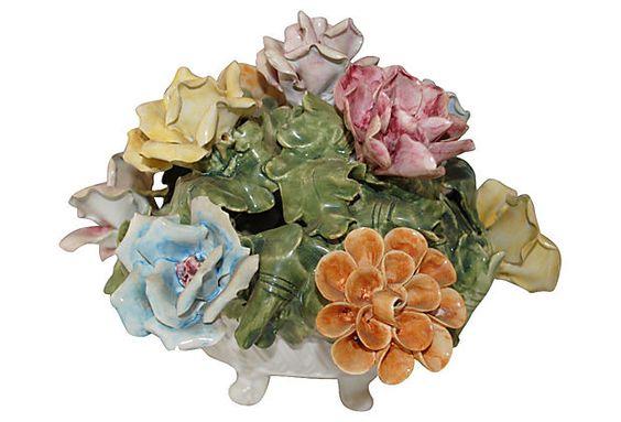 "Italian Porcelain Flower Centerpiece 10""L x 8""W x 8""H ($199.00)  $109.00 OneKingsLane.com"
