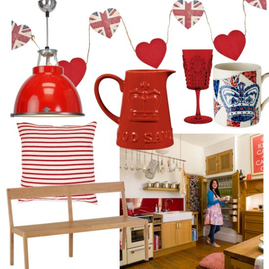 Add red accessories to a freestanding wooden kitchen for modern country style