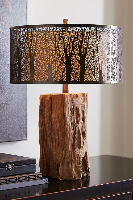 Etched Birches Table Lamp Lamps Tree Trunk Table And