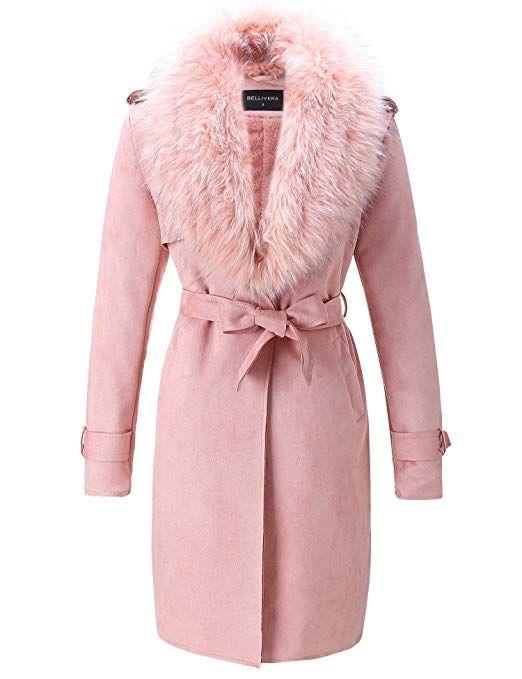 Bellivera Women's Faux Suede Long Jacket, Lapel Outwear Trench Coat  Cardigan with Detachable Faux Fur Collar for … | Dress coats for women,  Clothes, Long suede coat