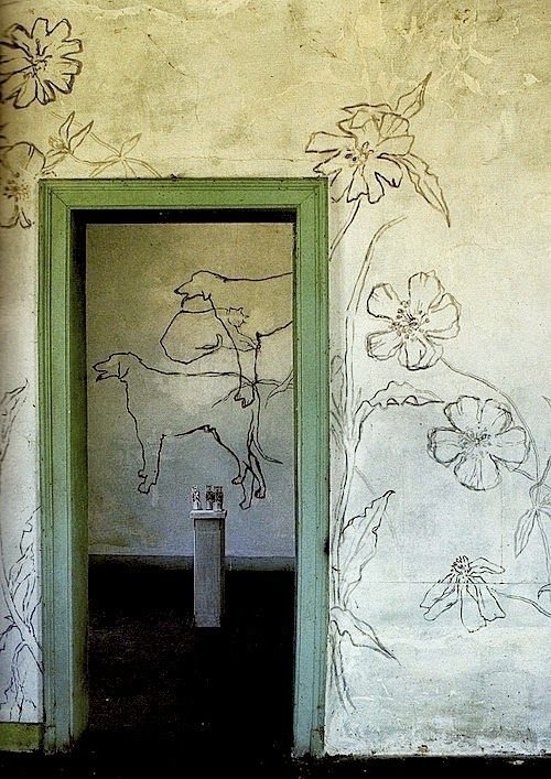 Stunning wall decorations by french artist and poet LP Promenheur.	  World of Interiors magazine