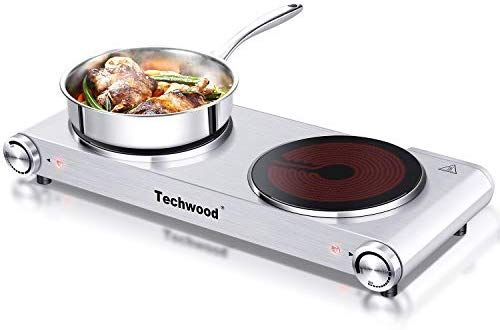 Amazon Com Techwood 1800 Watts Countertop Burner Infrared Ceramic Double Cooktop 900w 900w Portable Electric Electric Hot Plate Double Burner Hot Plate