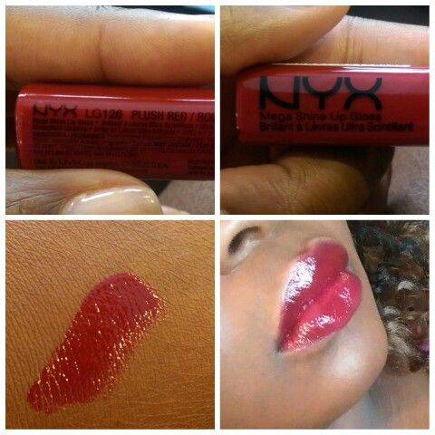 NYX Lip Gloss Plush Red on dark skin