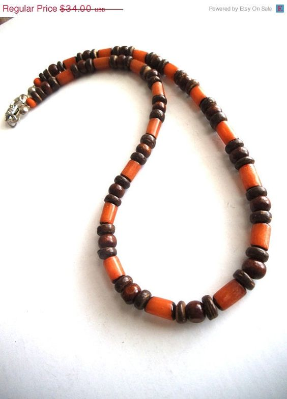 *SOLD* Men's Eco-Friendly Beaded Necklace, Organic Beads, Brown Natural Beads, Tribal, Surfer Jewelry, Vegan Jewelry, Unisex Jewelry by TerriJeansAdornments on Etsy