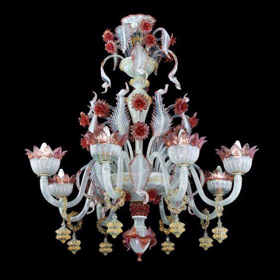 shabby chic lampadario : ... s640/lampadario-vetro-murano-shabby-chic-bianco-rosa.jpg. Pinterest