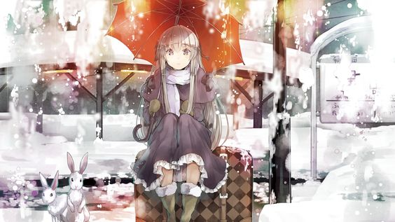 girl, umbrella, snow - http://www.wallpapers4u.org/girl-umbrella-snow/