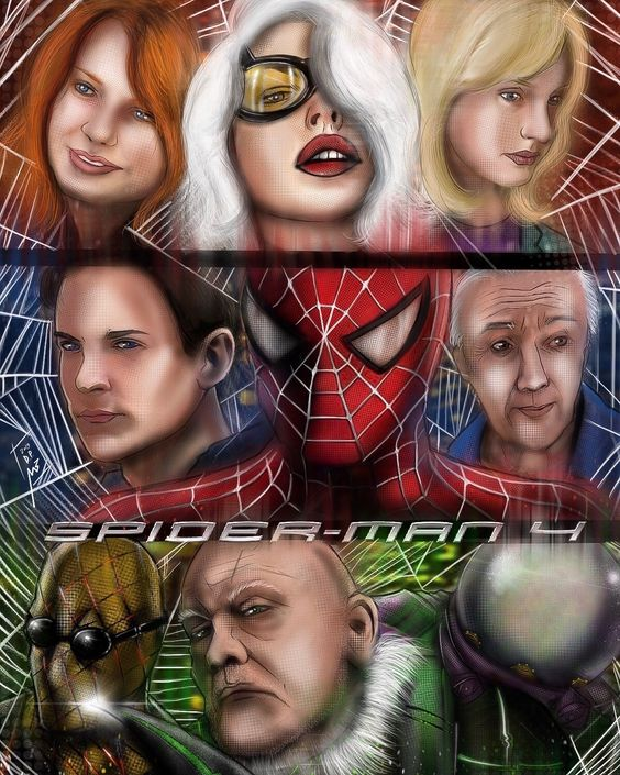 Spider Man 4 Characters Poster Art Artwork Samraimi Tobeymaguire Spiderman4 Spiderman Spiderma Spider Man Trilogy Iron Man Poster Comic Book Collection