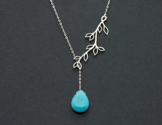SALE Branch with Turquoise Drop Lariat Necklace by SweetMelodyShop, $20.00