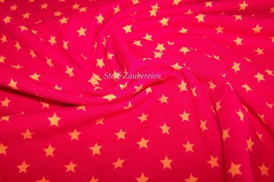 Baumwolljersey mini Sterne Stars rot orange Jersey  Meterware ab 50 x 146cm NEU
