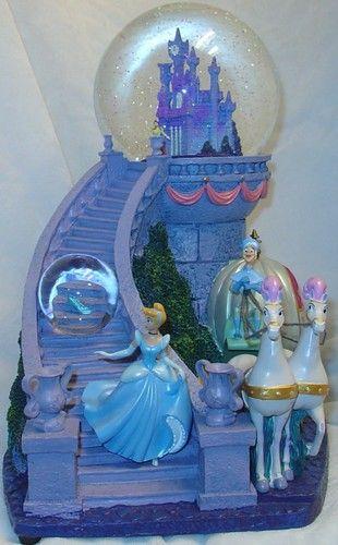 Disney Cinderella Castle 2 Globes Snowglobe Blue LGHTS Snowblower Music RARE | eBay