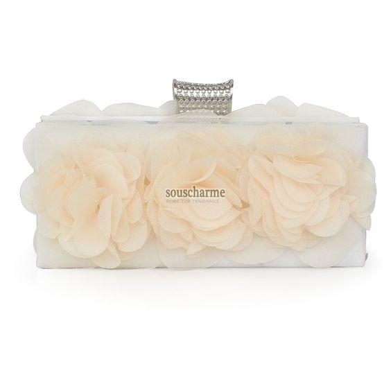 pochette mariage portefeuille femme sac à main pas cher en mousseline florale champagne