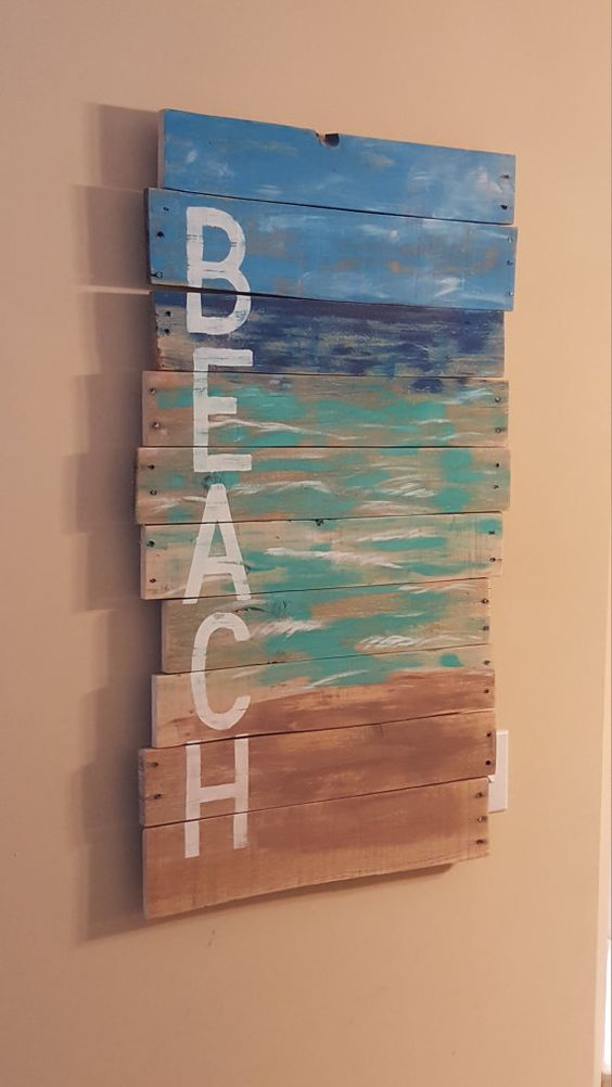 Reclaimed Wood Pallet Art Hand Painted By
