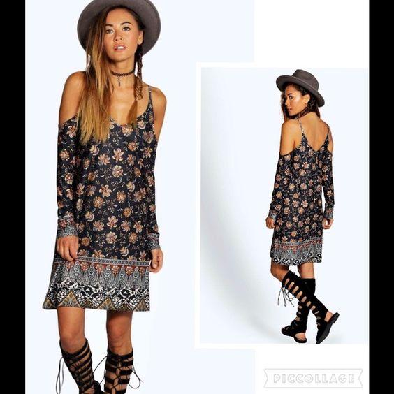 "NWT Boho Floral Dress Sz 4 95% Polyester, 5% ELastane. Bust 29"" Hips 38"" Length 37"" Dresses Midi"