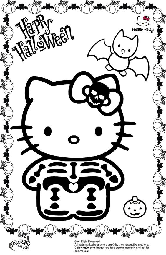 hello kitty halloween skeleton coloring pages - Halloween Skeleton Coloring Pages