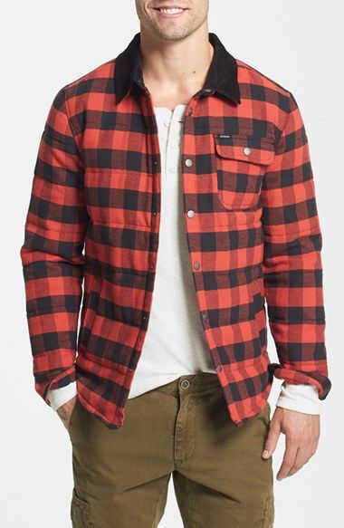 Red/Black Plaid - Brixton 'Cass' Quilted Snap Button Down Shirt ...