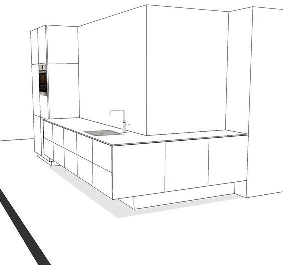 Leuk ontwerp door ons gemaakt voor een zwevende keuken. Zwevend keukenblok met ernaast een minder diep, verticaal deel voor de apparatuur. #keuken #kitchen #design #interior #interieur #interieuropmaat #meubelmaken #bespoke #Getacore #lghimacs
