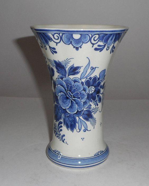 """Antique 6 1/4"""" Dutch Delft Trumpet Vase Flowers 716 ORIGINAL EXCELLENT"""