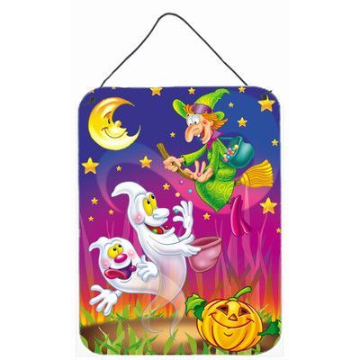 Caroline's Treasures Witch and Ghosts Halloween Graphic Art Plaque