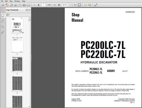 Komatsu Pc200lc 7l Pc220lc 7l Hydraulic Excavator Shop Manual In 2020 Hydraulic Excavator Excavator Hydraulic