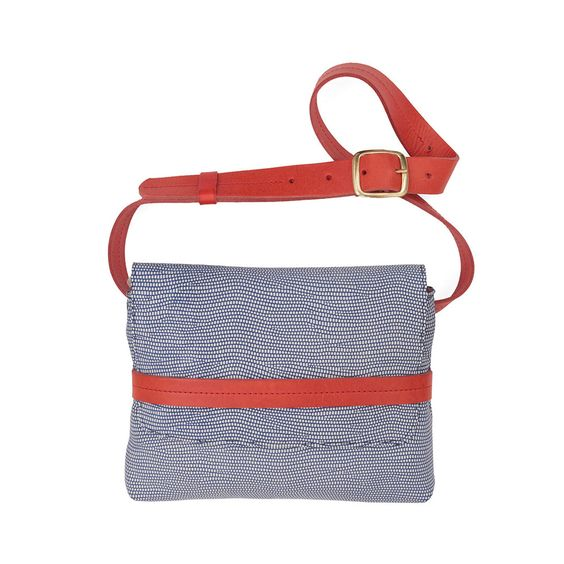 Clare V., Blue and White Lizard with Red Belt Fanny, LOU