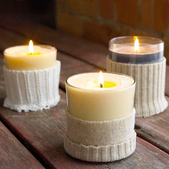 How cute are these Sweater-Wrapped Votives? More #creative ideas: http://www.bhg.com/christmas/indoor-decorating/simple-christmas-centerpieces/