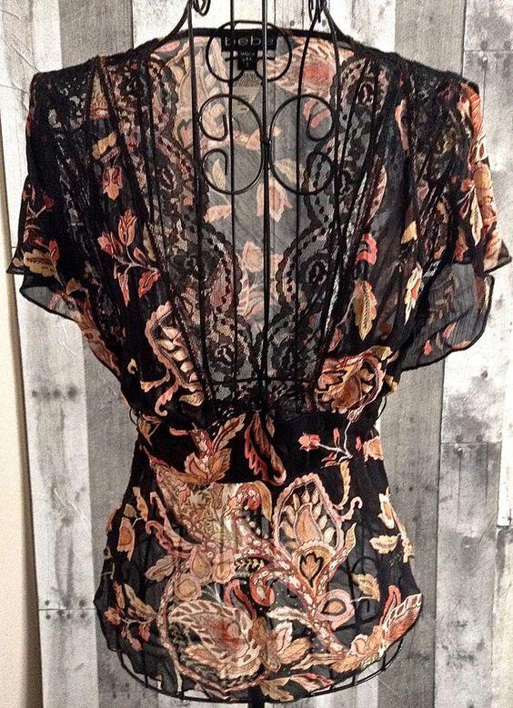 bebe Blouse Top Lace Floral Paisley Semi Sheer Black Size Small #bebe #Top